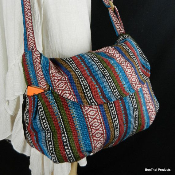 Hippie Hobo Messenger Bag Hmong Camera Purse Handbag Hand Woven Canvas Cotton - IKM29 #camerapurse