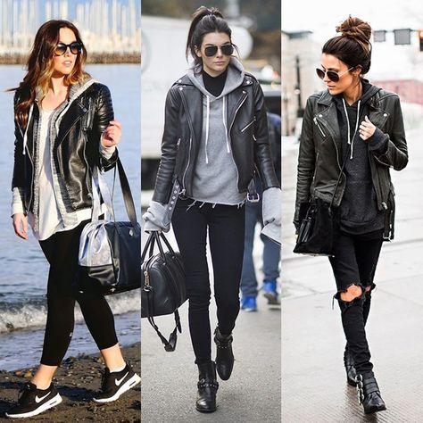 cbe0e586af9 Look  1) Legging preta + Tenis Nike + Moletom cinza com T-shirt branca + Jaqueta  de couro preta + Óculos escuro. 2) Calça…