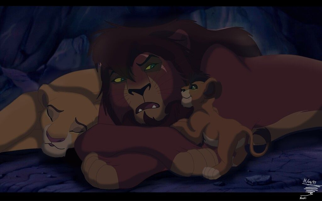 Kiara and Kovu and their lion cub in their cave