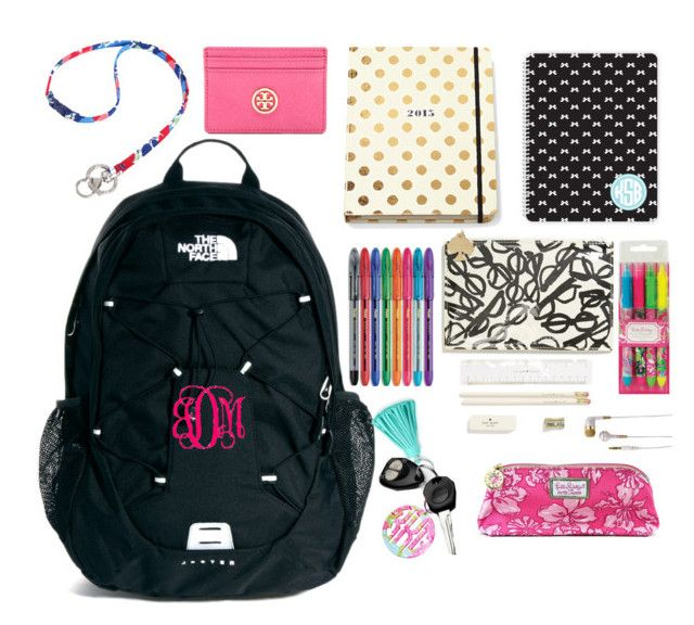 """""""What's in My Backpack 2014-15"""" by seersuckerandsequins ❤ liked on Polyvore featuring The North Face, Kate Spade, R.S.V.P, Lilly Pulitzer, Vera Bradley, Tory Burch, Tiffany & Co. and iHome"""