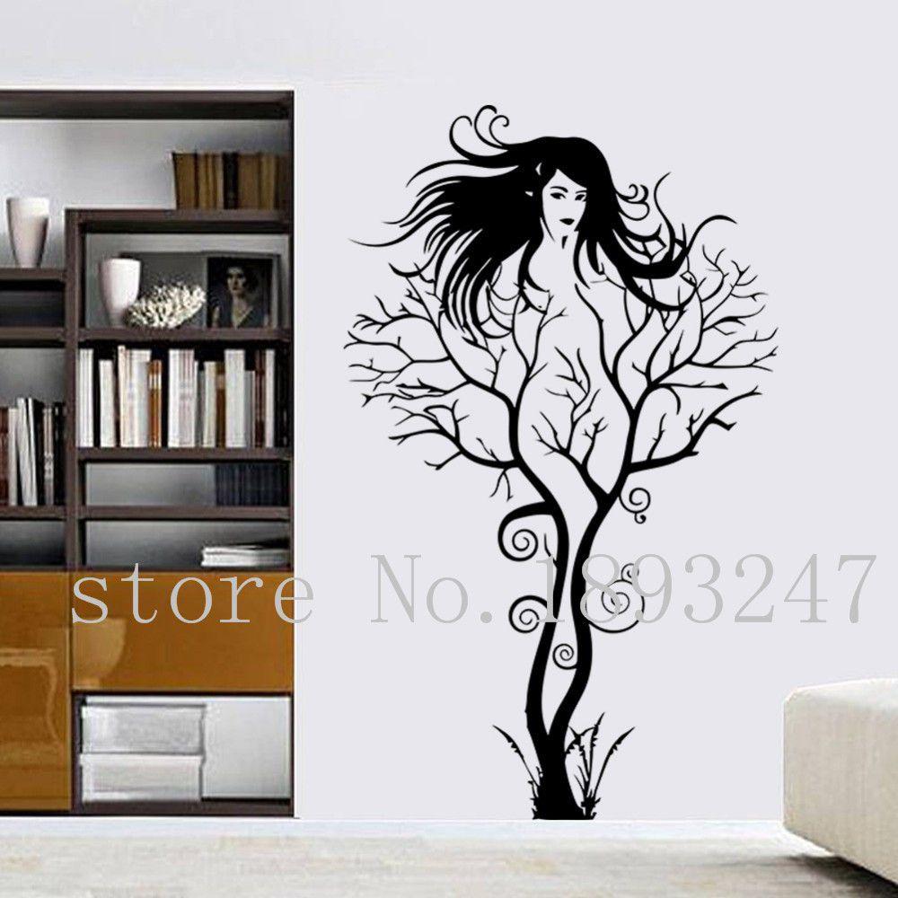 Creative branch girl decal bedroom tv backdrop living room bathroom