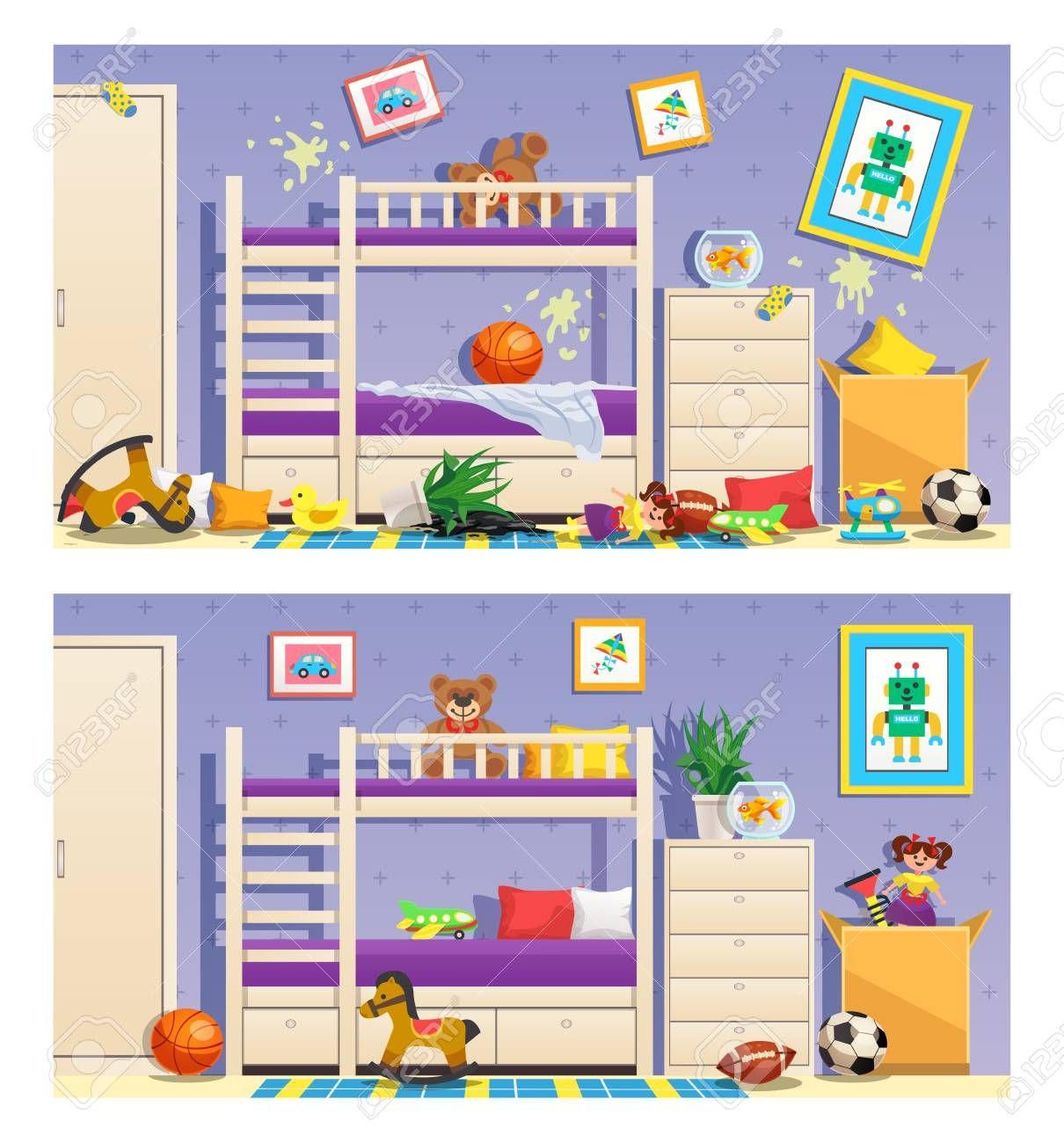 Clean And Messy Children Room Set Of Banners With