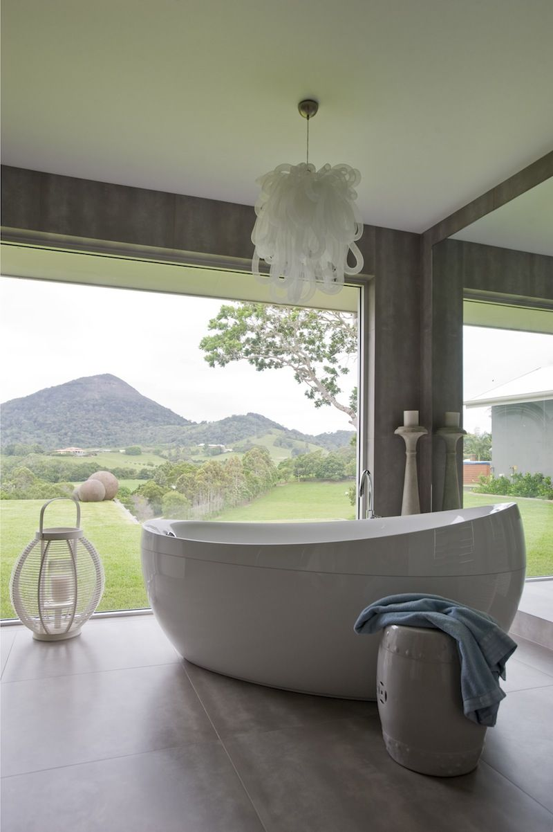 loving the light fitting and open space - luxury yes please great bathroom ideas