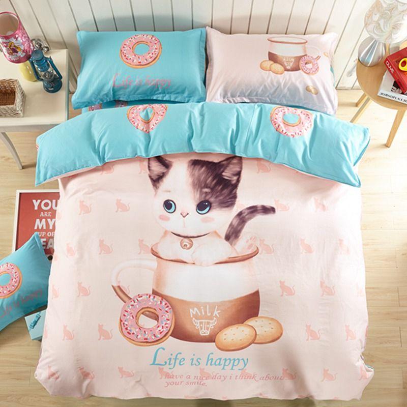 100 cotton cute cat and kitten print bedding set kids cartoon teenage children duvet covers