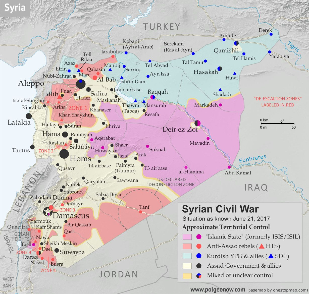 map of syrian civil war syria control map fighting and territorial control in syria in june 2017 free syrian army rebels kurdish ypg syrian democratic