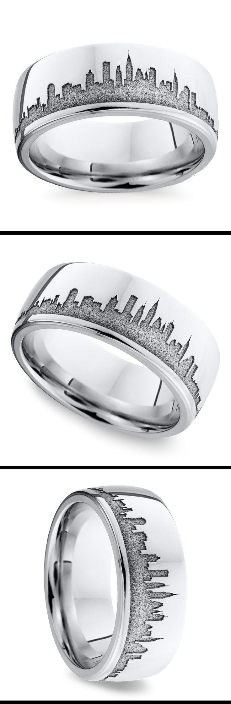 New York Skyline Men S Wedding Ring In Cobalt