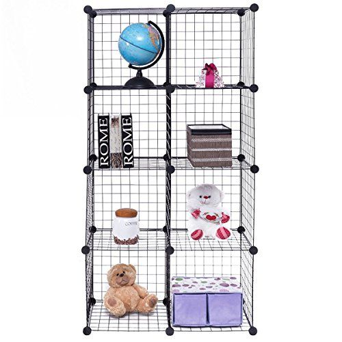 Tangkula Wire Cubes Metal Wire Free Standing Modular Diy Bookcase Closet Organization Storage Cubes 8 Cube Bookcase Diy Diy Cube Storage Wire Storage Shelves