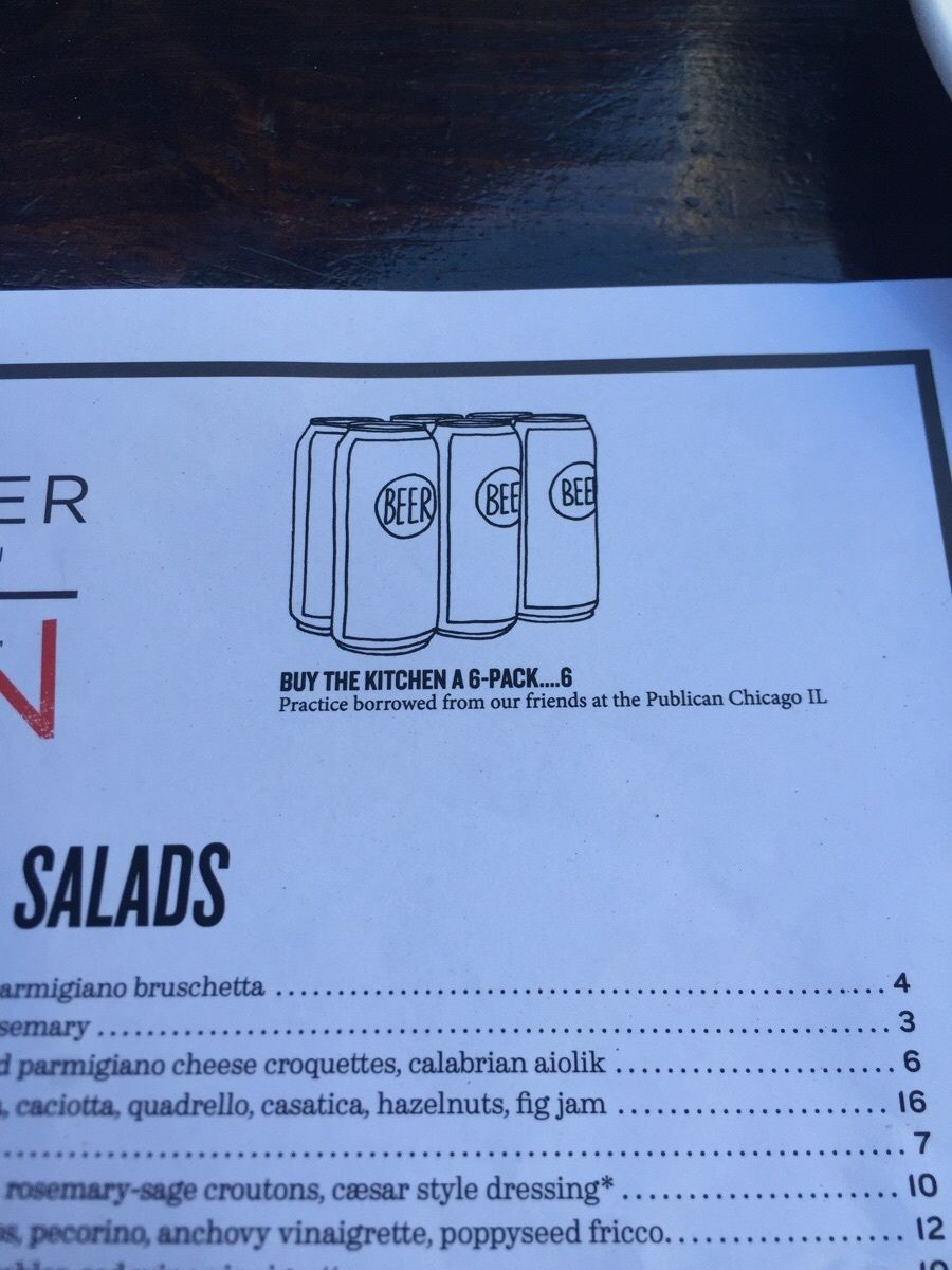 Restaurant Kitchen Humor a menu option to buy the kitchen workers a six-pack of beer. | the