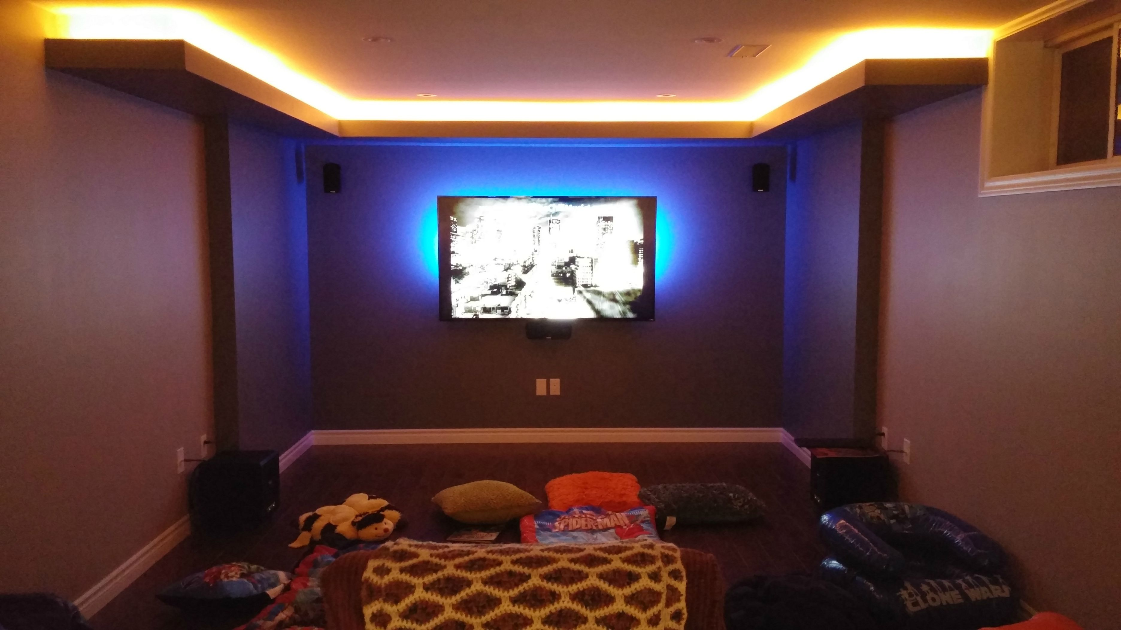 Right After Watching Our First Family Movie Downstairs Home Theater Design Accent Wall Basement Gym