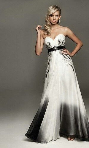 Pin By Panda Poo On Dream Wedding Black White Wedding Dress Colored Wedding Dresses Black Wedding Dresses
