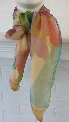 VTG Silk Scarf Soie Made in France Floral Square 29 x 29