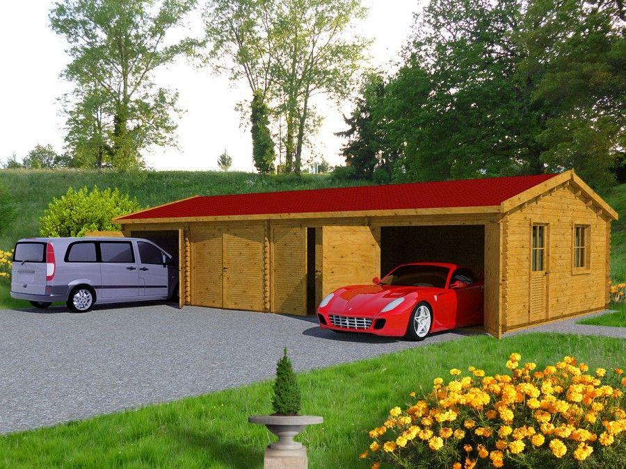 Garage En Bois 70m² 4 Places (600x1173) En épaisseur 70mm Ce Grand Garage En Nice Look