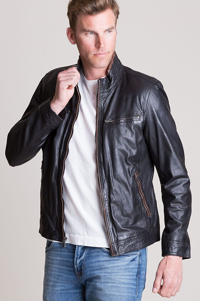 Stanley Lambskin Leather Moto Jacket Overland (With