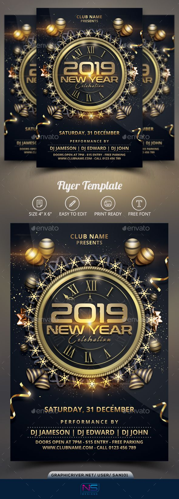 2019 new year flyer template psd