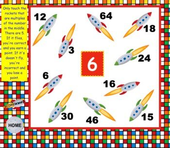 Multiple Rockets Factor Rainbows Smart Board Game Math