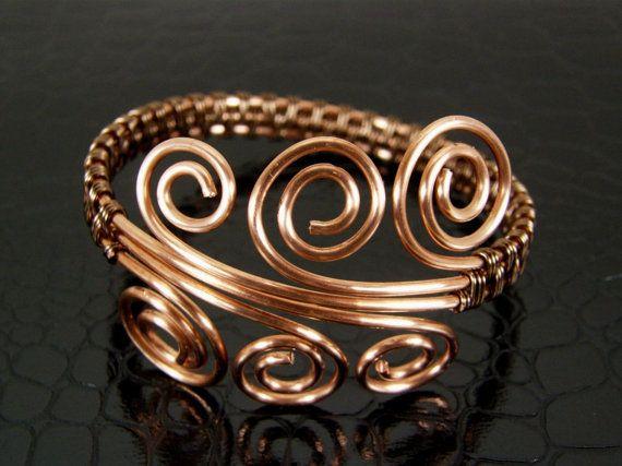 Copper Wire Weave Wire Wrapped Bracelet PickOne by BonzerBeads, $29.00