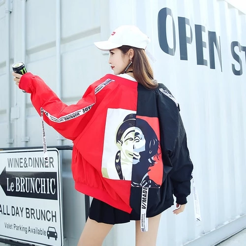 Harajuku Wild loose streamer letters Printed baseball coat thin Sunscreen Zipper Jackets Stitching Outwear Cardigan Tops