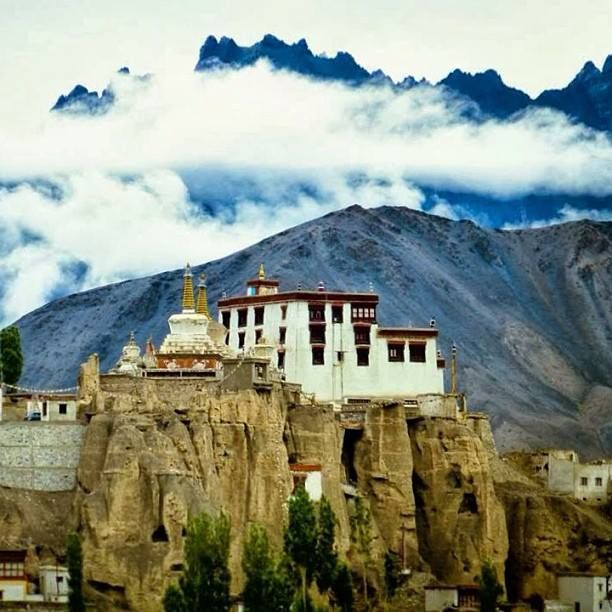 A beautiful view of the 17th century Leh Palace ruins in Ladakh, India