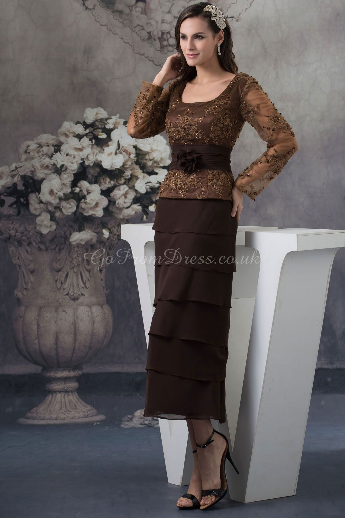 Sheathcolumn chiffon lace square natural waist tealength zipper
