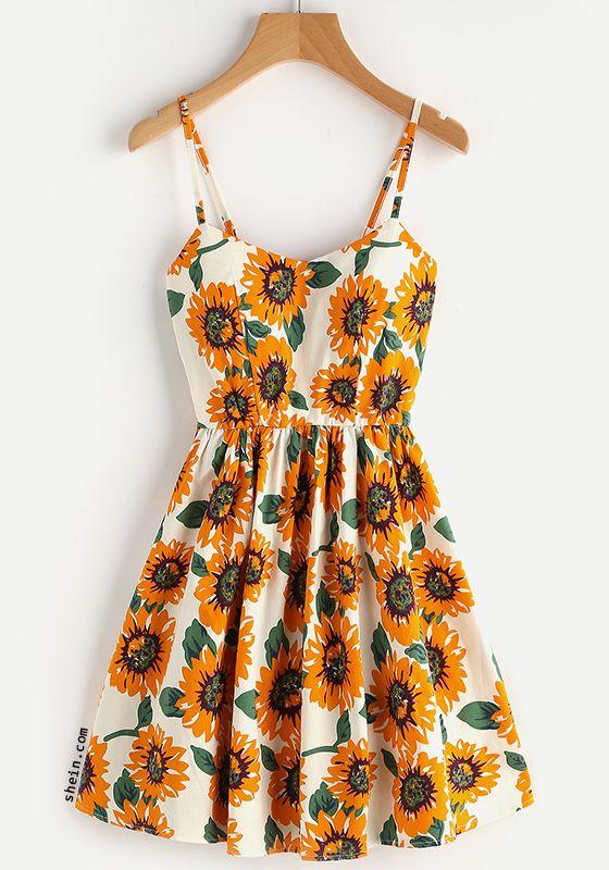 Random Sunflower Print Crisscross Back A Line Cami Dress