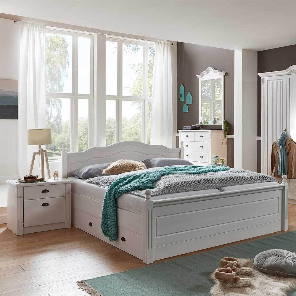 Ehebett im Landhausstil Weiß Kiefer massiv (3teilig) in