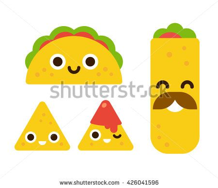 Mexican food with cute smiling faces taco burrito and nachos with salsa in flat cartoon geometric style buy this stock vector on shutterstock find