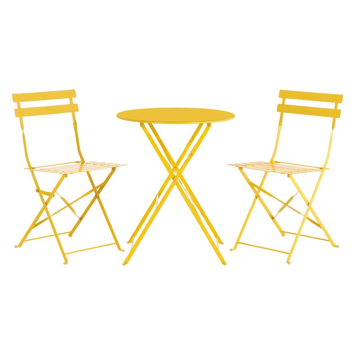 Amazing PARC 2 Seat Yellow Metal Folding Bistro Table And Chairs Set