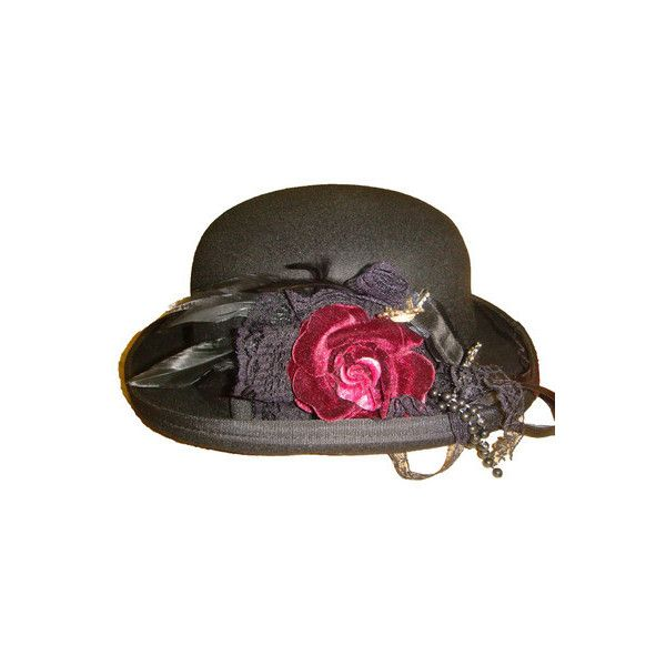 bfcafb0e1ced4 Steampunk Raven Bowler hat with red flower ❤ liked on Polyvore featuring  accessories