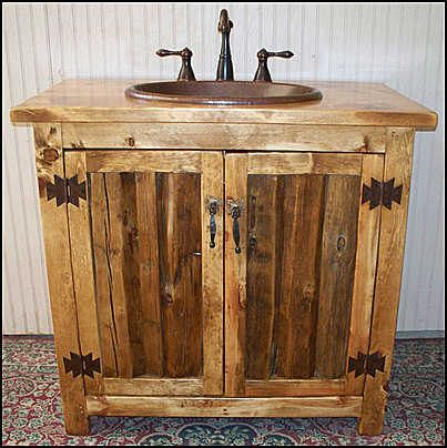 Rustic Log Bathroom Vanity - 36 - Bathroom Vanity with sink - MS1371-36 - Vanity - Copper sink - Rustic Bathroom Vanity - Bathroom Vanities #rusticbathrooms