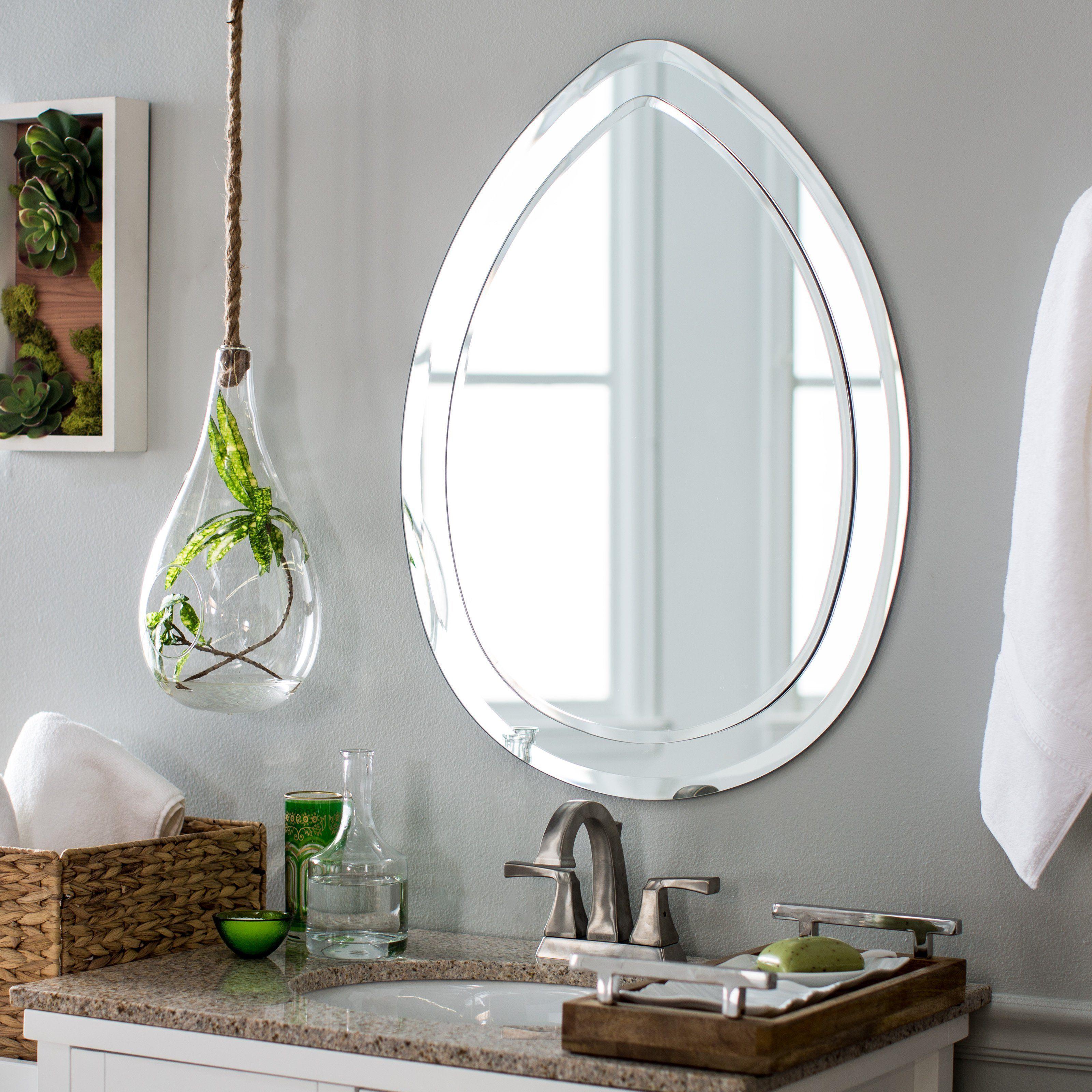 Decor Wonderland Droplet Modern Bathroom Mirror - 23W x 31H in ...