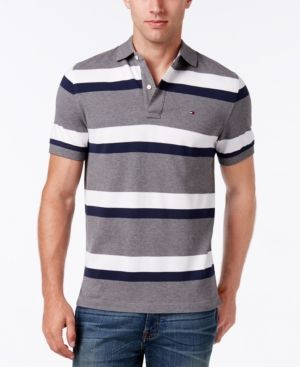 Tommy Hilfiger Men's Big & Tall Ace Striped Polo Gray XLT