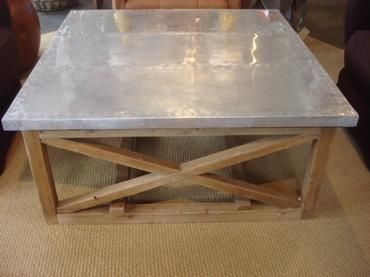 Oak And Metal Square Coffee Table Distressed Base With Bottom Stretcher X Side Detail Top Nail Head Decor 40 16 H