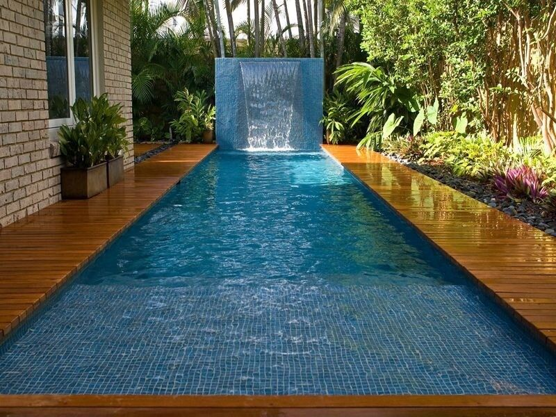 801 swimming pool designs and types for 2018 - Rectangle Pool With Water Feature