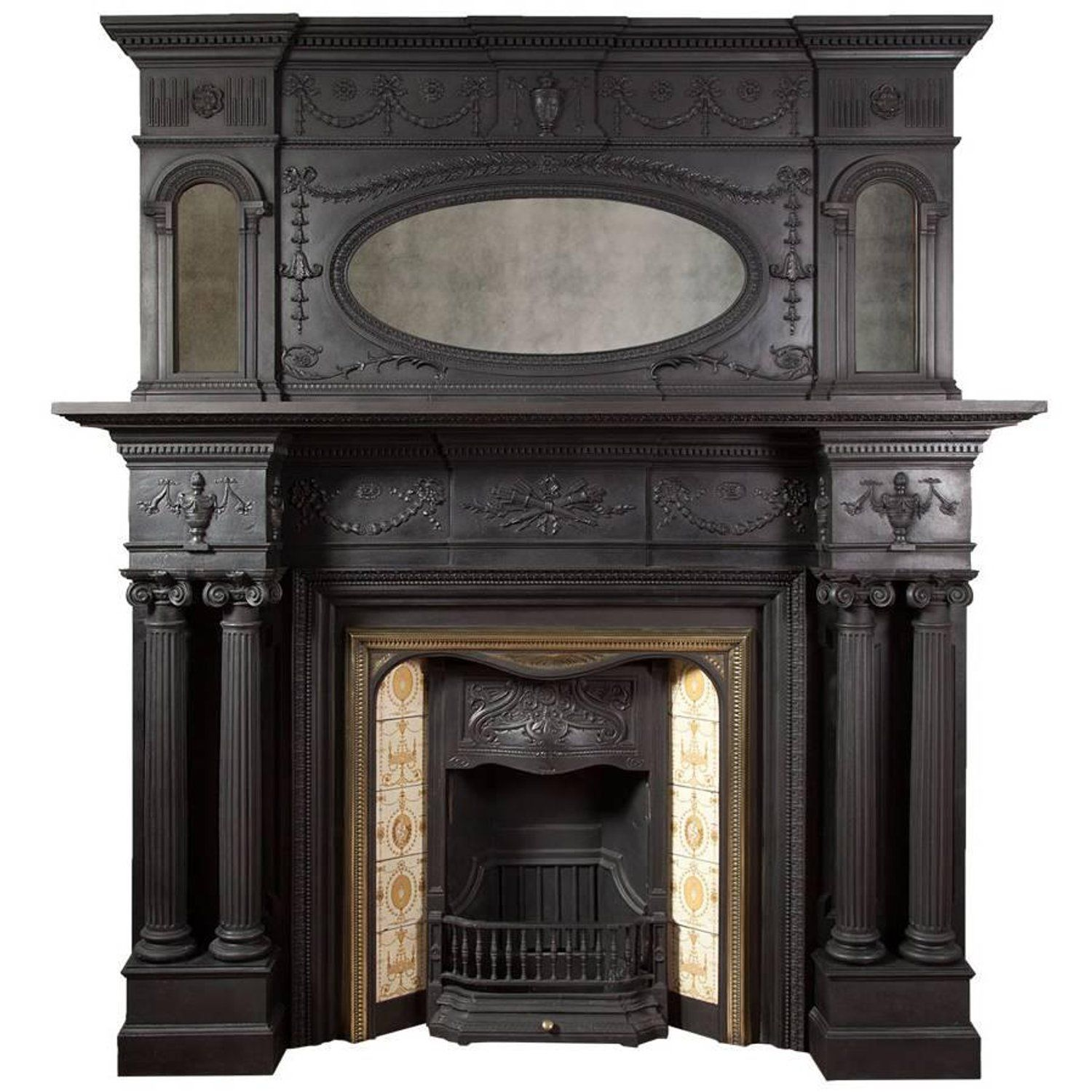 Antique Cast Iron Fireplace With