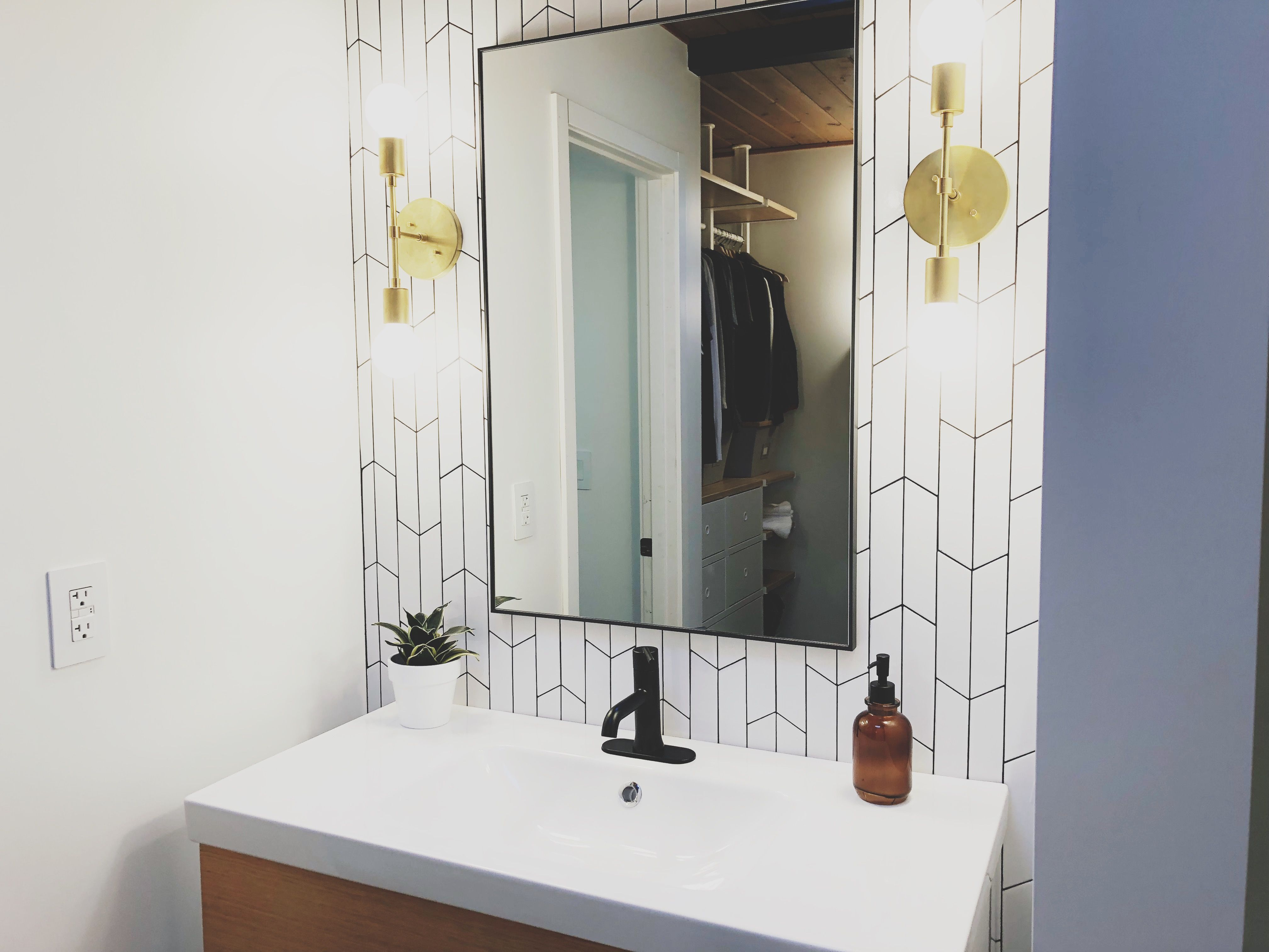 Our Bathroom Renovation We Loved How It Turned Out Cb2 Mirror Ikea Vanity Triple Seven Home Lights Wayfa Ikea Vanity Bathroom Renovation Bathrooms Remodel