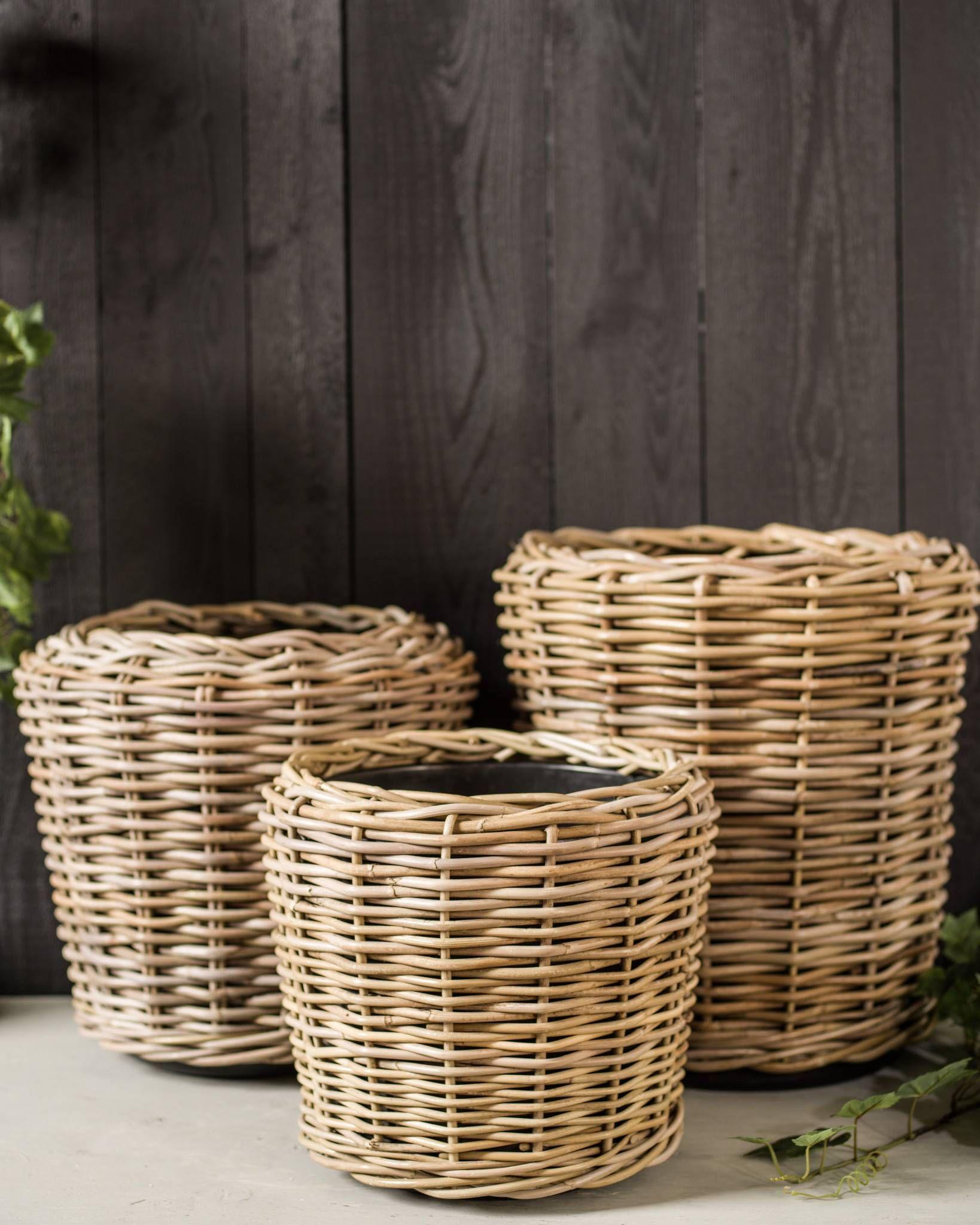 Outdoor Rattan Basket Planter Balsam Hill Basket Planters Rattan Basket Rattan Planters