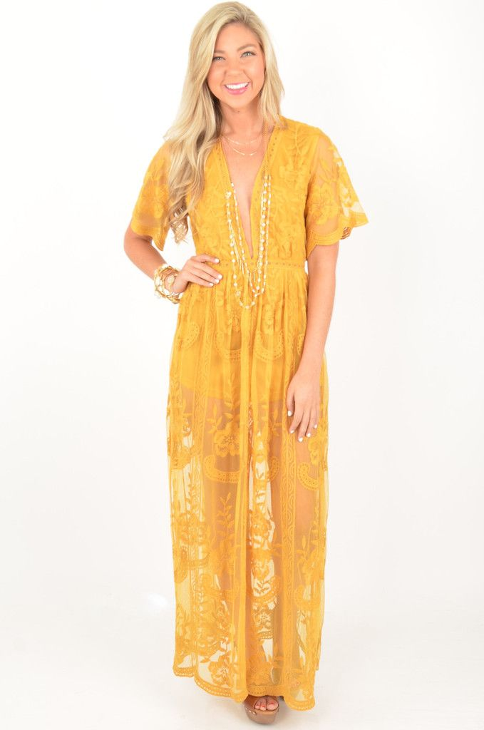 8b775299fdb How FABULOUS is this mustard gold lace romper with a sheer maxi length  overlay!! Finished with a deep v-neckline