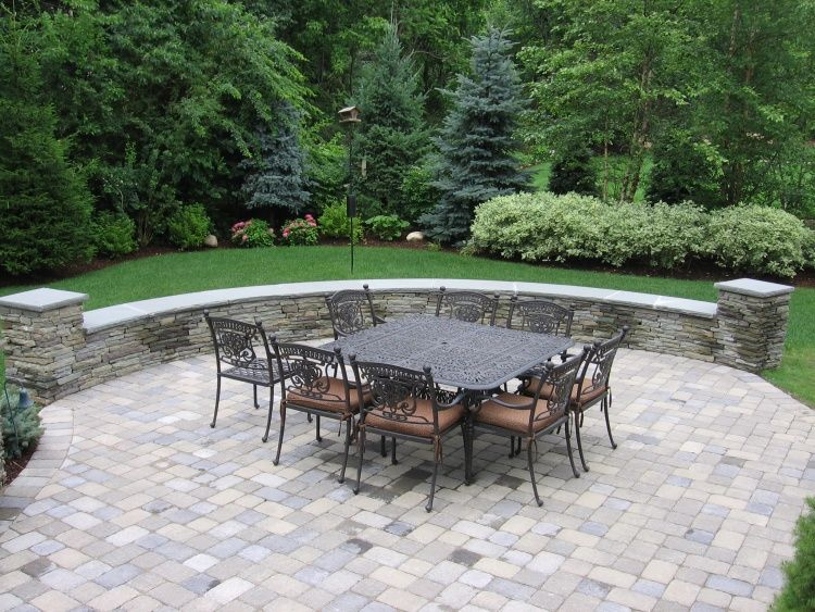 Images Of Patio Stones | Paver Patio Stone Seat Wall Patio With Pillars Dry  Laid Seat