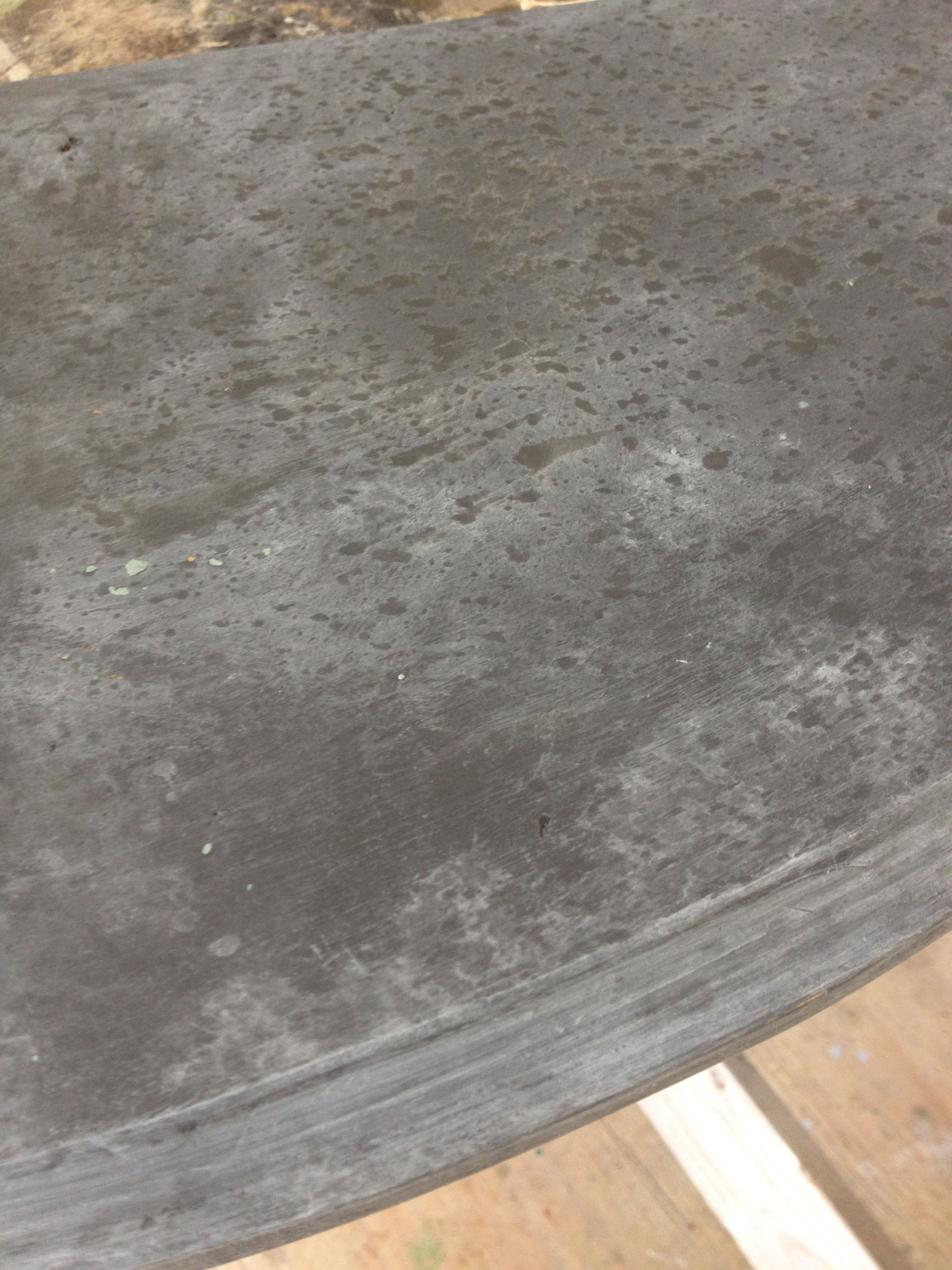 marble table gone zinc .CHALK PAINT brand decorative paints polishes to a marble  finish in znic