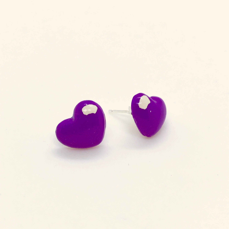purple hearts earrings