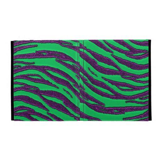 Kelly Green with Purple Glitter Zebra Stripes iPad Cases