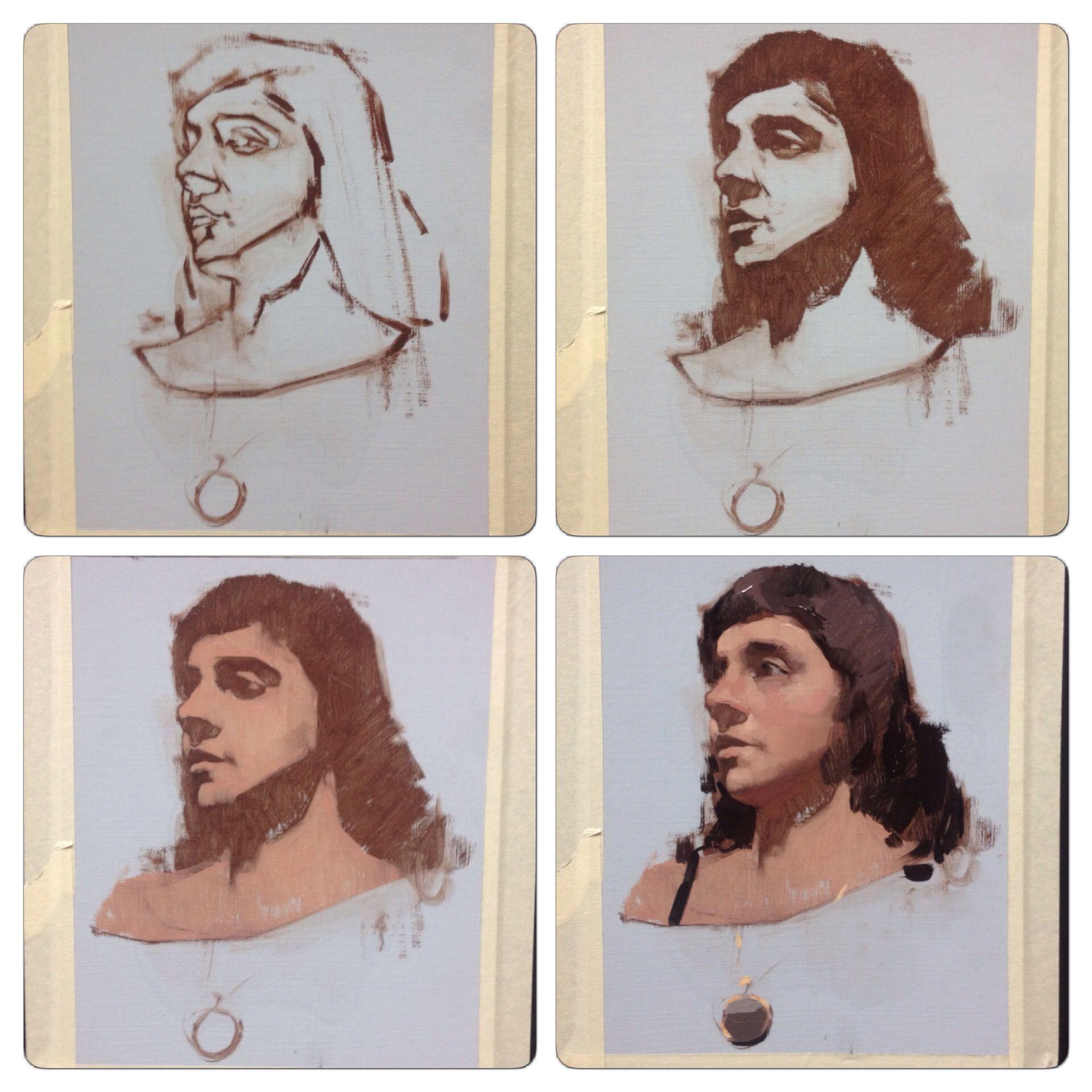 Class demo alla prima portrait oil 8x10 http www for Watercolor portrait tutorial