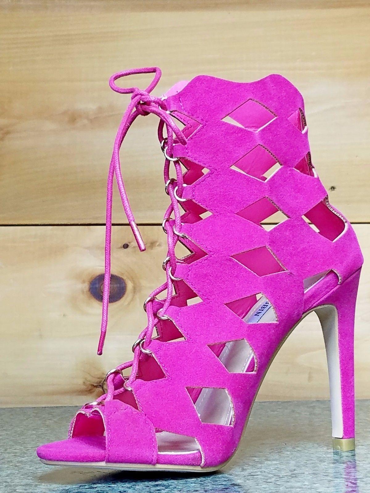 49cc6317162f Cape Robbin Heidi Fuchsia Diamond High Heel Cut-out Peep Toe Shoe ...