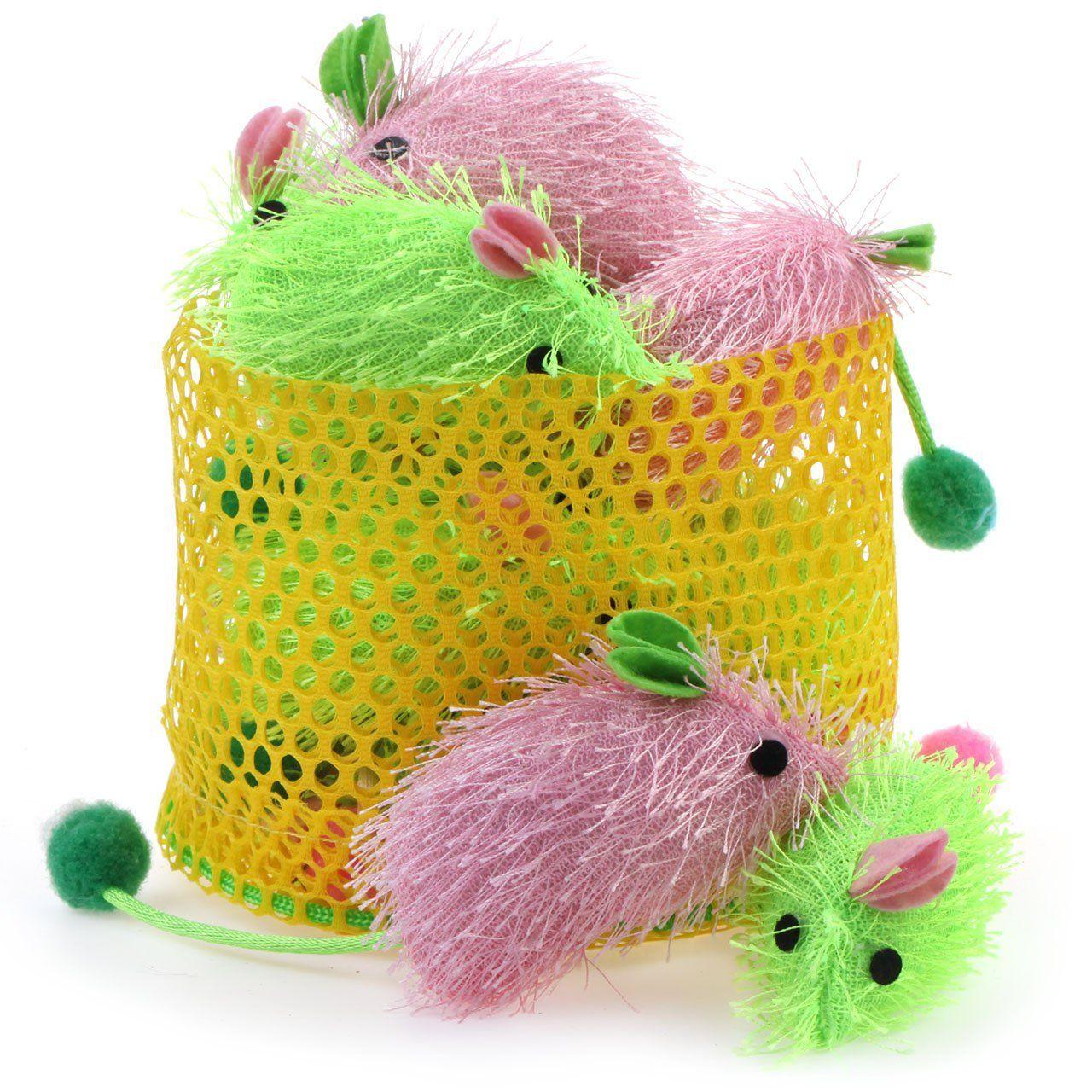 Chiwava 2.7'' Cat Toy Catnip Mice Soft Plush Bright Color