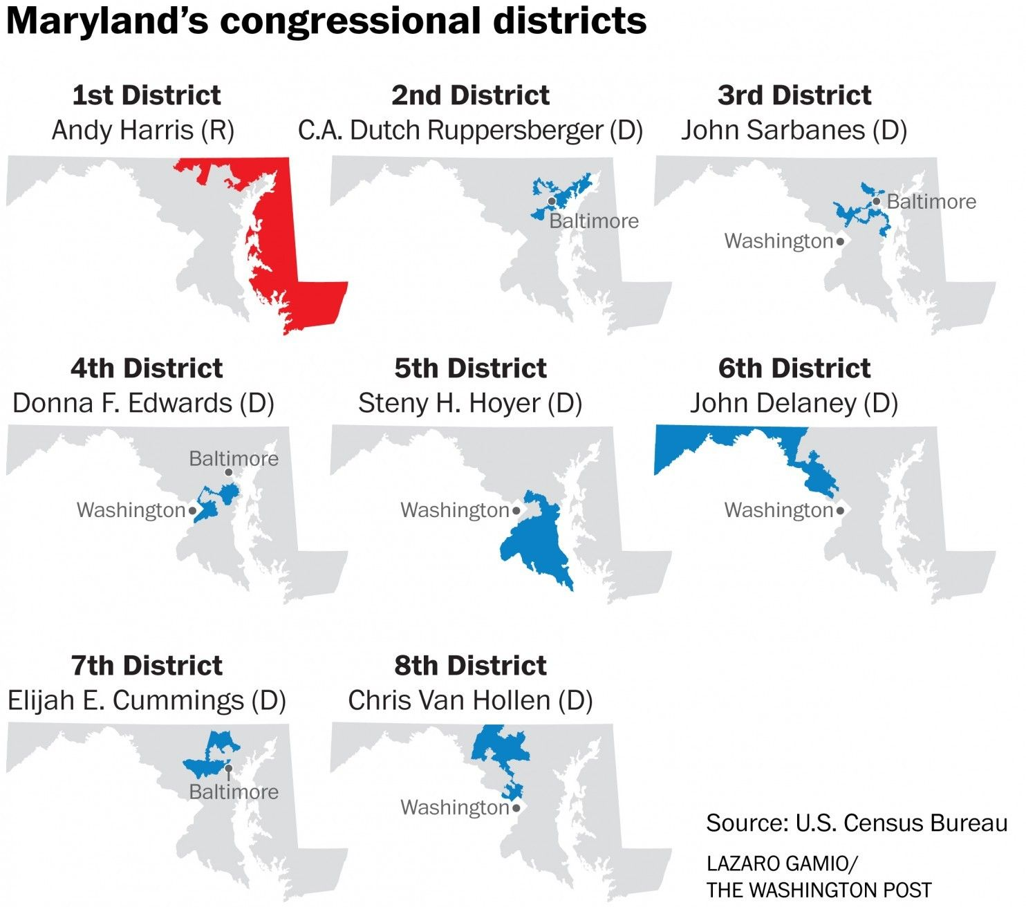 Marylands Congressional Districts Maps Cartographic Material