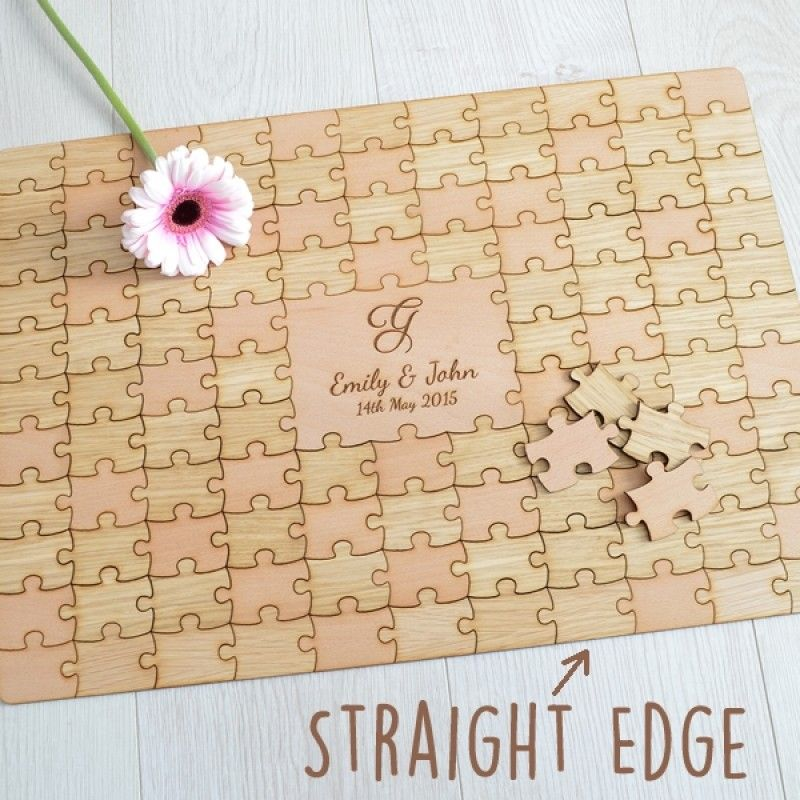 Personalised Wooden Wedding Jigsaw Puzzle Piece Guestbook ...