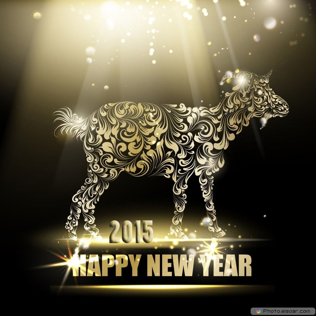 Happy chinese new year 2015 celebration card with shiny artistic happy chinese new year 2015 celebration card with shiny artistic goat and elegant radiancy kristyandbryce Choice Image