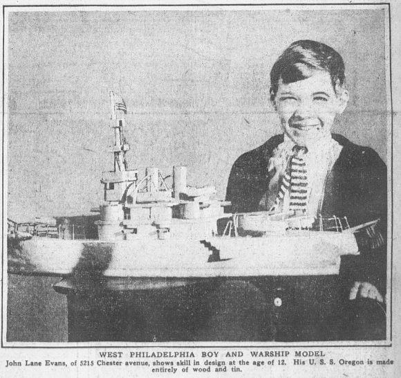 John Lane Evans and his model ship, 1914.