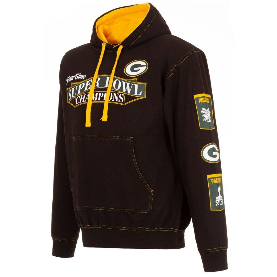 Green Bay Packers Jh Design 4 Time Super Bowl Champions Banner 2 Tone Pullover Hoodie Black Yellow Mont