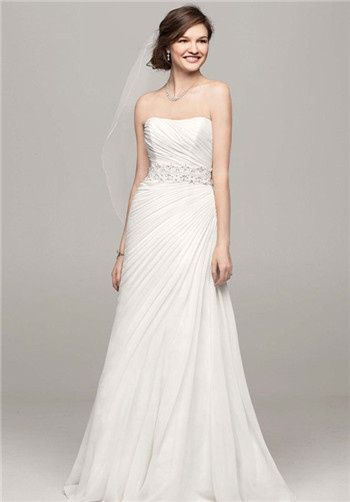 Crinkle Chiffon Gown With Asymmetrical D Affordable Wedding Dresses